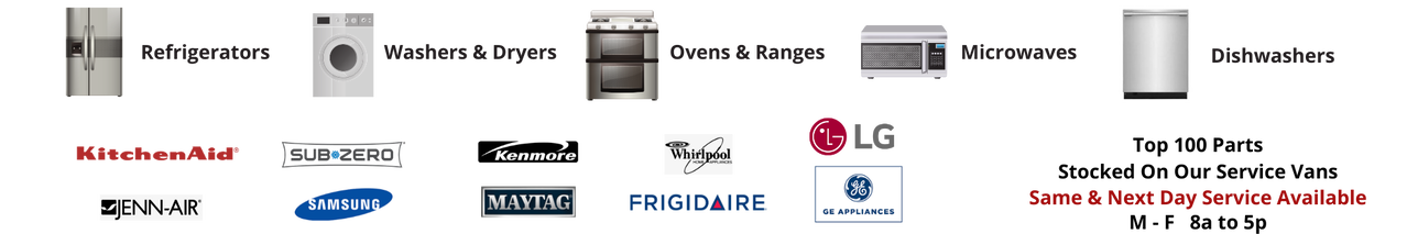 appliance repair banner showing brands and types with business hours
